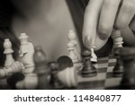 sexy woman playing chess and... | Shutterstock . vector #114840877