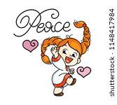 peace. cutest cheerful girl in...   Shutterstock .eps vector #1148417984