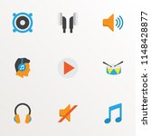 audio icons flat style set with ... | Shutterstock .eps vector #1148428877