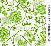 white and green seamless floral ... | Shutterstock .eps vector #114842989