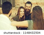 couple of handsome bearded man... | Shutterstock . vector #1148432504