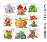 fantasy house vector cartoon... | Shutterstock .eps vector #1148440697