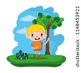 cute child boy in the forest... | Shutterstock .eps vector #1148453921