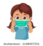 child wears a medical face mask.... | Shutterstock .eps vector #1148457251