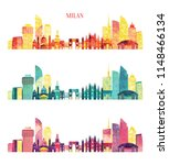 milan  italy  detailed skyline. ... | Shutterstock .eps vector #1148466134