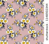 seamless floral pattern on pink ... | Shutterstock . vector #1148502344