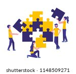 team work with puzzle pieces | Shutterstock .eps vector #1148509271