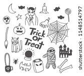 halloween trick or treat doodle ... | Shutterstock .eps vector #1148514797