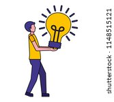 young man with light bulb...   Shutterstock .eps vector #1148515121