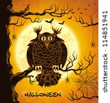 terrible owl  full moon  bats... | Shutterstock .eps vector #114851941