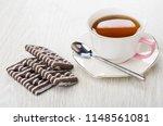 striped chocolate cookies ... | Shutterstock . vector #1148561081