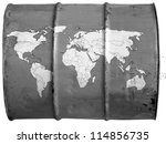 world map drawn on oil barrel | Shutterstock . vector #114856735