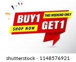 buy 1 get 1 free sale banner red   Shutterstock .eps vector #1148576921