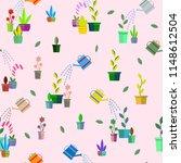 garden pots with plants... | Shutterstock .eps vector #1148612504