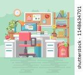 work office of school girl with ... | Shutterstock .eps vector #1148634701