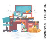 mess work office with mess and...   Shutterstock .eps vector #1148634707