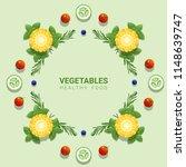 flat lay fresh vegetables on...   Shutterstock .eps vector #1148639747