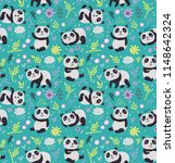 Stock vector cute seamless pattern with pandas 1148642324