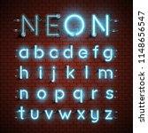 high detailed neon font set ... | Shutterstock .eps vector #1148656547