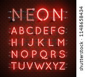 high detailed neon font set ... | Shutterstock .eps vector #1148658434