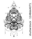 lotus  eye  sacred geometry.... | Shutterstock .eps vector #1148664071