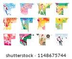 zodiac sports lady. a set of 12 ...   Shutterstock . vector #1148675744