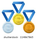 Illustration of three winners sports style medals for first second and third prize - stock vector