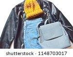 flat lay fashion photo. yellow... | Shutterstock . vector #1148703017