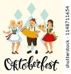 people drink beer oktoberfest... | Shutterstock .eps vector #1148711654