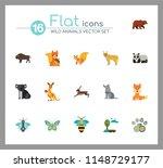 wild animals icon set. bear paw ... | Shutterstock .eps vector #1148729177