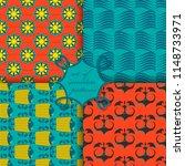 set of seamless vector paper... | Shutterstock .eps vector #1148733971