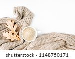 cup of coffee  with warm plaid. ... | Shutterstock . vector #1148750171
