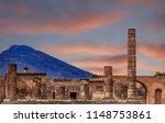 Pompeii And Vesuvius At Dusk