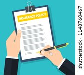 man signs insurance policy ... | Shutterstock .eps vector #1148760467