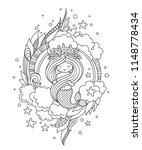 little mermaid with wreath of... | Shutterstock .eps vector #1148778434