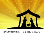 christmas nativity scene  the... | Shutterstock . vector #1148784677