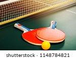 table tennis rackets and ball...   Shutterstock . vector #1148784821