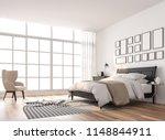 scandinavian bedroom with large ...   Shutterstock . vector #1148844911
