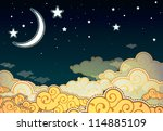 cartoon style night sky | Shutterstock . vector #114885109