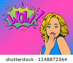 surprised woman with blonde... | Shutterstock . vector #1148872364