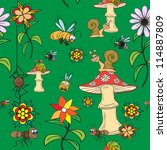 seamless pattern. plants ... | Shutterstock .eps vector #114887809