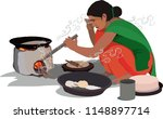 village women cooking food | Shutterstock .eps vector #1148897714