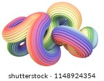 abstract rainbow shape. 3d... | Shutterstock . vector #1148924354