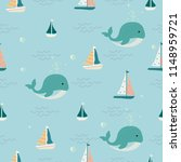 seamless sailing ships and...   Shutterstock .eps vector #1148959721