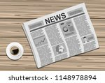 newspapers with a cup of coffee ... | Shutterstock .eps vector #1148978894