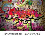 graffiti wall background. urban ... | Shutterstock .eps vector #114899761