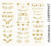 set of golden hand drawn winter ... | Shutterstock .eps vector #1148999447