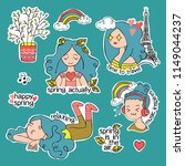 spring stickers. set. girl....   Shutterstock .eps vector #1149044237