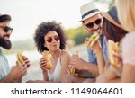 group of friends sitting on the ... | Shutterstock . vector #1149064601