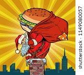 santa claus with a burger...   Shutterstock .eps vector #1149080057